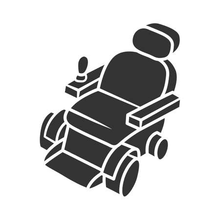 Motorized wheelchair glyph icon. Mobility aid device for physically disabled people. Transportation for handicapped person. Silhouette symbol. Negative space. Vector isolated illustration