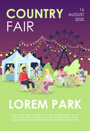 Country fair brochure template. Summer festival, carnival flyer, booklet, leaflet concept with flat illustrations. Vector page layout for magazine. Funfair, city event advertising invitation with text