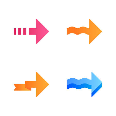 Forward arrows flat design long shadow color icons set. Dotted, folding, next, forward arrows. Rightward direction. Indicating arrowhead. Navigation symbol. Motion. Vector silhouette illustrations Ilustração