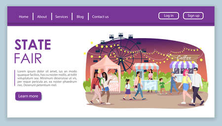 State fair landing page vector template. City event, festival website interface idea with flat illustrations. Street food market stalls homepage layout. Funfair web banner, webpage cartoon concept