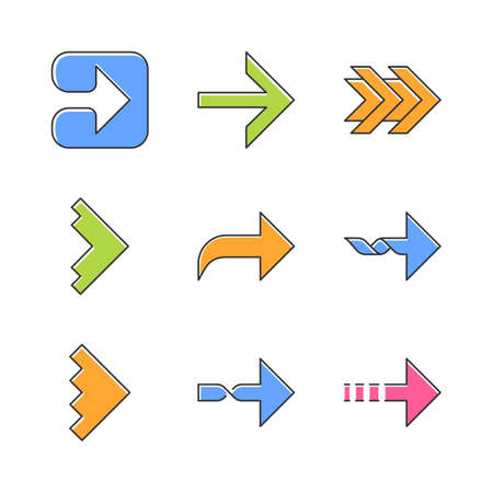 Right arrows color icons set. Forward, curved, dotted, twisted next, forward arrows. Marker, indicator. Motion. Movement sign. Arrowhead indicating rightward. Isolated vector illustrations