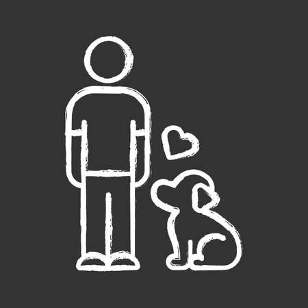 Animals welfare and help chalk icon. Pup and master. Pet adoption from shelter. Animal emotional support. Volunteer activity. Man with faithful dog. Isolated vector chalkboard illustration Ilustração