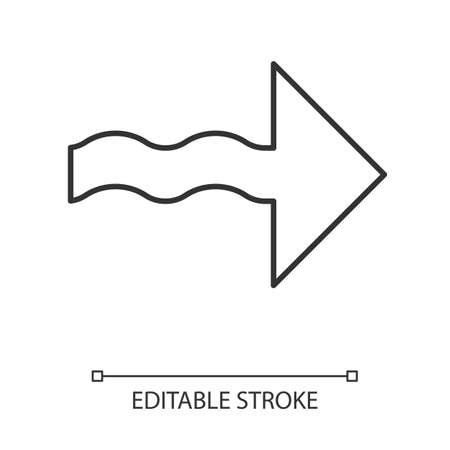 Wavy arrow linear icon. Direction pointer sign. Indicating arrowhead. Pointing cursor. Marker, indicator, next. Thin line illustration. Contour symbol. Vector isolated outline drawing. Editable stroke