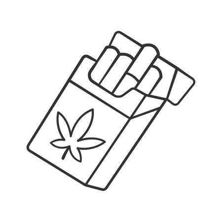 Cigarettes linear icon. Cannabis industry. Ganja smoking. Hemp distribution and sale. Relaxing CBD ciggy pack. Thin line illustration. Contour symbol. Vector isolated outline drawing. Editable stroke