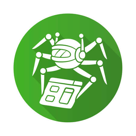 Crawler flat design long shadow glyph icon. Spiderbot. Search engine optimization. Content monitoring. Artificial intelligence. Web indexing. Robot software. Vector silhouette illustration Иллюстрация