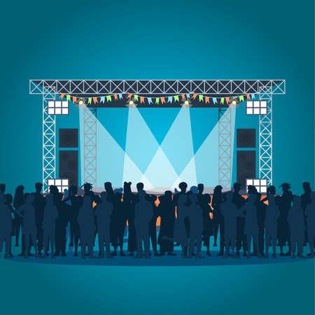 Plantilla de vector de cartel de festival de música de verano. Concierto al aire libre. Folleto, portada, diseño de concepto de página de folleto con ilustraciones planas. Audiencia, escenario. Folleto publicitario, folleto, idea de diseño de banner. Ilustración de vector