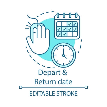 Depart and return date concept icon. Travel insurance idea thin line illustration. Flights schedules and timetables. Air travel, trip by plane. Vector isolated outline drawing. Editable stroke Vettoriali