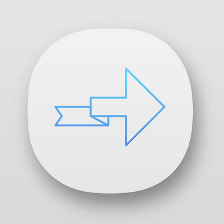 Arrow with folding line app icon. Right turning arrowhead. Next ribbon arrow. Indicating sign. Direction indicator. UIUX user interface. Web or mobile applications. Vector isolated illustrations Ilustração