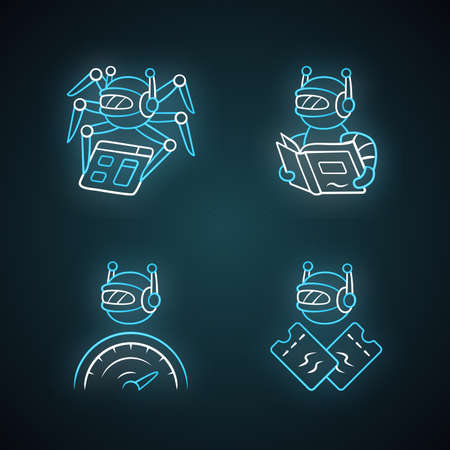 Internet bots neon light icons set. Crawler, text-reading, optimizer, scalper robot. Artificial intelligence. AI. Software app. Virtual assistant. Glowing signs. Vector isolated illustrations