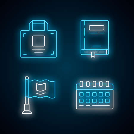 Office accessories neon light icons set. Business supplies glowing signs. Corporate work attributes, worker tools vector isolated illustrations. Working notepad, desk calendar, briefcase and flag  イラスト・ベクター素材