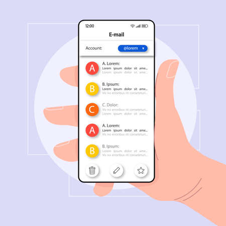 Email exchange smartphone interface vector template. Mobile app page color design layout. E-mail management screen. Flat UI for application. Hand holding phone with electronic mail accounts on display