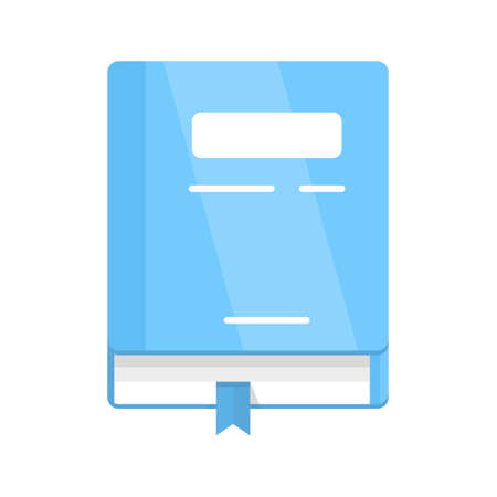 Personal notebook flat design color icon. School textbook, diary with bookmark isolated vector illustration. Illusztráció
