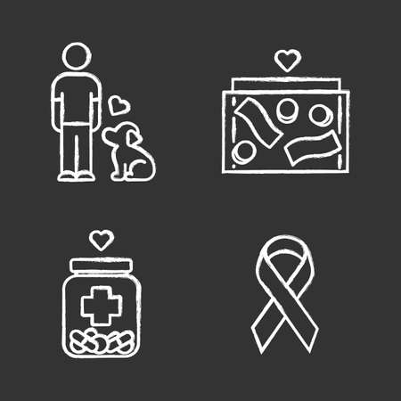 Volunteering chalk icons set. Humanitarian assistance. Altruistic activity. Animals welfare, donation box, medical aid, awareness ribbon. Isolated vector chalkboard illustrations