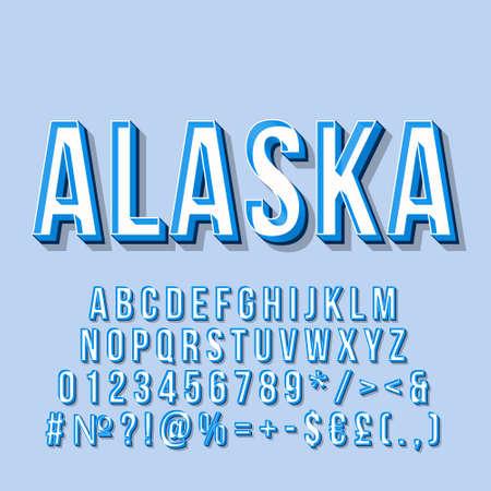 Alaska vintage 3d vector lettering. Retro bold font, typeface. Pop art stylized text. Old school style letters, numbers, symbols, elements pack. 90s, 80s poster, banner. Blue sash color background