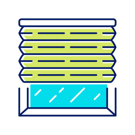 Pleated blinds color icon. Cellular shades. House and office window blinds. Room darkening decoration, roller shutters, jalousie. Interior design, home decor shop. Isolated vector illustration