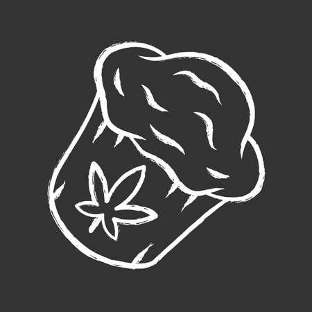 Cannabis cupcake chalk icon. Weed muffin. Homemade edible kit. Pie cooking. Hemp cookies. Marijuana legalization. Cannabis industry. Drug use. Isolated vector chalkboard illustration