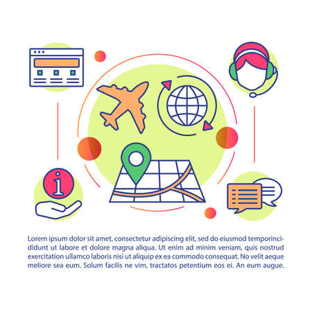 Travel agency article page vector template. Tourist company work. Brochure, magazine, booklet design element with linear icons and text boxes. Print design. Concept illustrations with text space Illustration