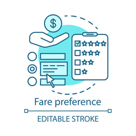 Fare preference concept icon. Transportation costs idea thin line illustration. Services, airline classes price. Airplane amenities. Travel expenses. Vector isolated outline drawing. Editable stroke