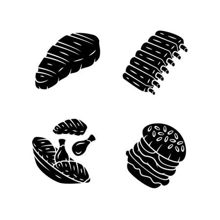 Meat dishes glyph icons set. Steak, beef ribs, chicken legs, burger. Fast food. Butcher shop product. Restaurant, grill bar, steakhouse menu. Silhouette symbols. Vector isolated illustration 일러스트