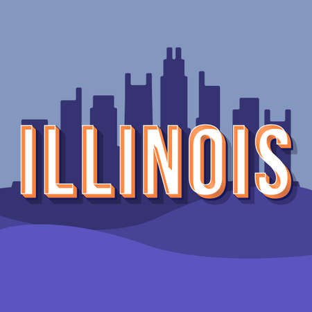 Illinois vintage 3d vector lettering. Retro bold font, typeface. Pop art stylized text. Old school style letters. 90s, 80s poster, banner, t shirt typography design. Cityscape violet color background
