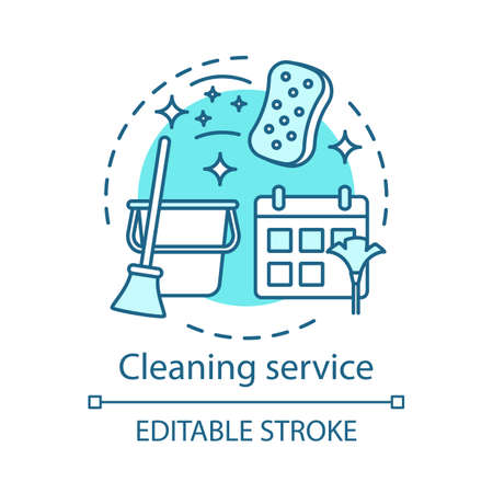 Cleaning service concept icon. Home service idea thin line illustration. Housekeeping. House maintenance. Apartment cleanup. Vector isolated outline drawing. Editable stroke Ilustração