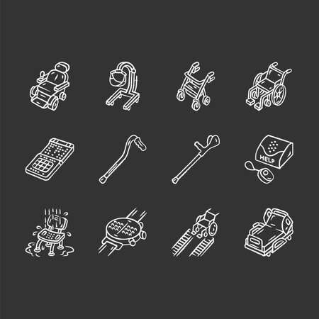 Disabled devices chalk icons set. Mobility aid, handicapped medical equipment. Facility for blind, paralyzed, old people. Hospital, retirement home equipment. Isolated vector chalkboard illustrations Stock Illustratie