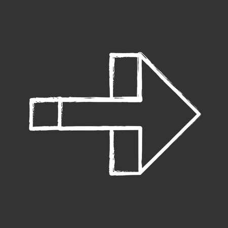 Right arrow chalk icon. Forward pointer, right turn. Path indicator, designator. Direction move. Arrow pointing rightward. Next. Navigation cursor. Isolated vector chalkboard illustration