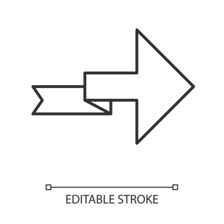 Arrow with folding line linear icon. Turning arrowhead. Next ribbon arrow. Indicating sign. Direction indexer. Thin line illustration. Contour symbol. Vector isolated outline drawing. Editable stroke Ilustração