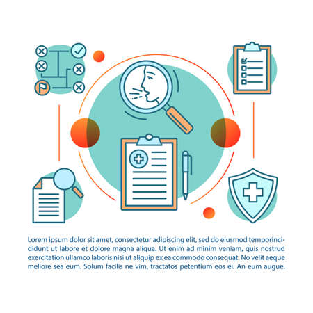 Allergy guide article page vector template. Medical screening, testing. Brochure, magazine, booklet design element with icons and text boxes. Print design. Concept illustrations with text space Illustration