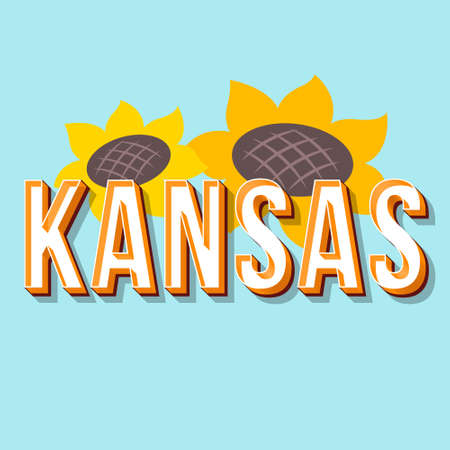 Kansas vintage 3d vector lettering. Retro bold font, typeface. Pop art stylized text. Old school style letters. 90s, 80s poster, banner, t shirt typography design. Sunflowers, arctic color background
