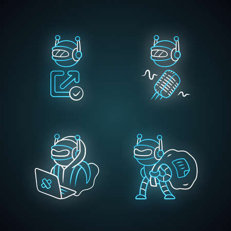 Bot types neon light icons set. Hacker, backlink checker, scraper bots. Malicious robot. Artificial intelligence, AI. Web optimization. Computer virus. Glowing signs. Vector isolated illustrations Illusztráció