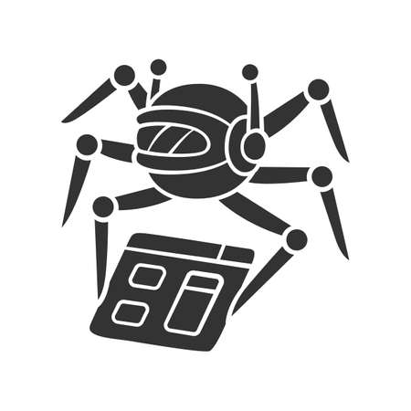 Crawler glyph icon. Spiderbot. Search engine optimization. Content monitoring. Artificial intelligence. Web indexing. Robot software. Silhouette symbol. Negative space. Vector isolated illustration