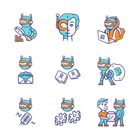 Internet bots color icons set. Hacker, voice, spam, impersonator, monitoring, work, scraper robots. Software program. Artificial intelligence. Cyborgs, malicious bots. Isolated vector illustrations Illusztráció