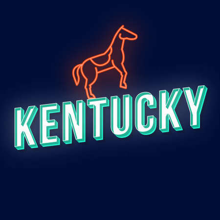 Kentucky vintage 3d vector lettering. Retro bold font, typeface. Pop art stylized text. Old school style neon light letters. 90s, 80s poster, banner design. Dark blue color background with horse Illustration