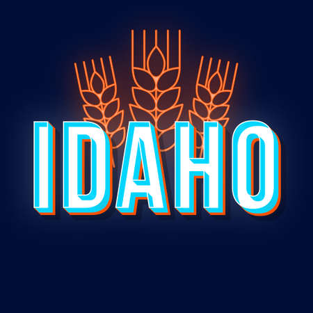 Idaho vintage 3d vector lettering. Retro bold font, typeface. Pop art stylized text. Old school style neon light letters. 90s, 80s poster, banner design. Wheat ears dark blue color background Иллюстрация