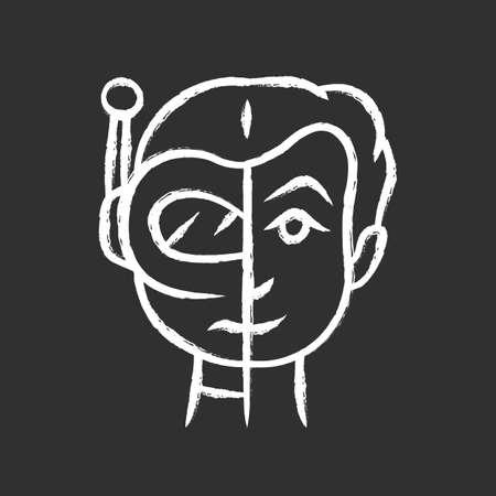 Bot impersonator chalk icon. Automated hacking. False identity. Robot imitator. Cybernetics, electronics, technology. Artificial intelligence. Isolated vector chalkboard illustration Stock Illustratie