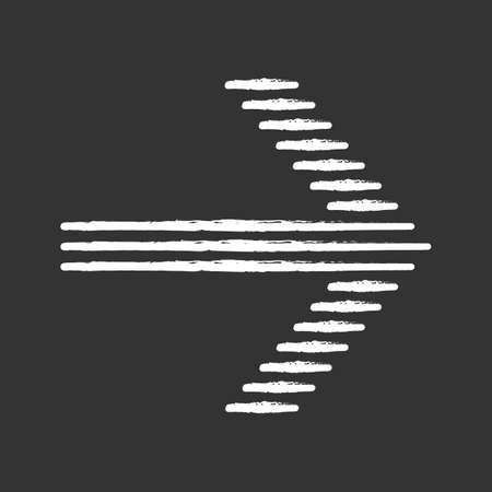 Striped arrow chalk icon. Forward indicator, right turn. Pointer symbol. Motion sign. Next, forward. Navigation cursor. Arrowhead indicating rightward. Isolated vector chalkboard illustration