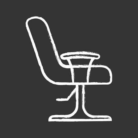 Salon armchair glyph icon. Comfortable lounge chair. Hairdressing equipment. Beauty parlour furniture. Barbershop easy chair. Silhouette symbol. Negative space. Vector isolated illustration Illustration