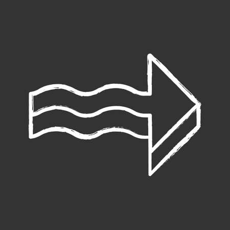 3d wavy arrow chalk icon. Rightward direction. Indicating arrowhead. Sign pointing to right. Navigation pointer. Direction move. Indicating symbol. Isolated vector chalkboard illustration