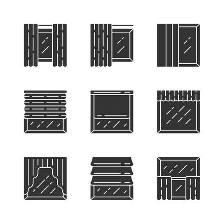 Window shutters glyph icons set. Roller, roman shades, swags, valance. Motorized jalousie. House and office window decoration. Home interior shop. Silhouette symbols. Vector isolated illustration