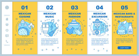 Mexican culture onboarding mobile web pages vector template. Mexico trip. Responsive smartphone website interface idea with linear illustrations. Webpage walkthrough step screens. Color concept