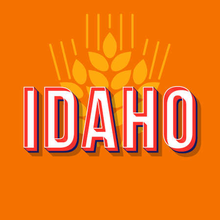 Idaho vintage 3d vector lettering. Retro bold font, typeface. Pop art stylized text. Old school style neon light letters. 90s, 80s poster, banner typography design. Wheat ears carrot color background
