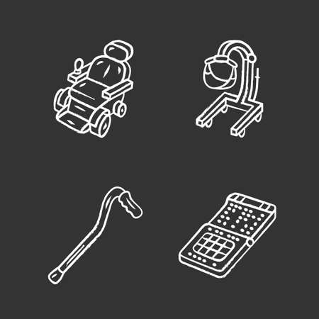 Disabled devices chalk icons set. Motorized wheelchair, patient lift, cane, braille smartphone. Mobility aids, handicapped equipment for physically challenged. Isolated vector chalkboard illustrations Stock Illustratie