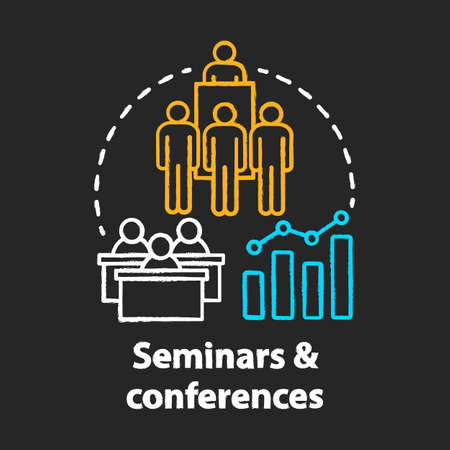Seminars & conferences chalk concept icon. Corporate events idea. Business meetings, trainings. Company presentation. Briefing, public speech. Vector isolated chalkboard illustration