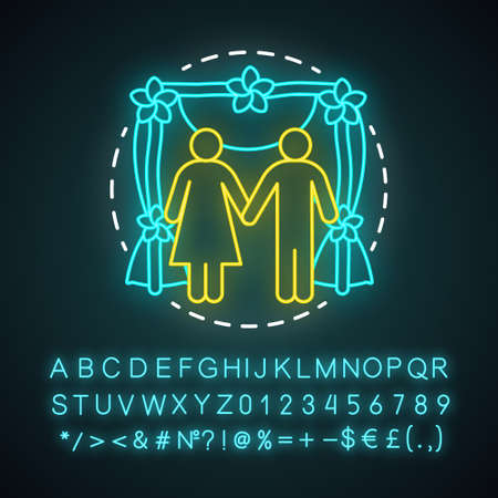 Wedding ceremony neon light concept icon. Engagement, marriage celebration event idea. Bride and groom. Bridal party. Newlyweds, just married. Glowing alphabet, numbers. Vector isolated illustration