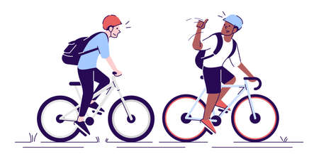 Friends riding bicycles flat vector illustrations. Cyclists with helmets, sportsmen, athletes on bikes. Tourists with backpacks isolated cartoon characters with outline elements on white background Stock fotó - 129559176