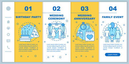 Event management & planning services onboarding mobile web pages vector template. Birthday party, wedding ceremony. Responsive smartphone website interface idea with linear illustrations. Webpage walkthrough step screens. Color concept Иллюстрация