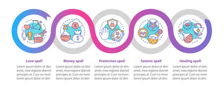 Magic spells vector infographic template. Business presentation design elements. Data visualization with five steps and options. Process timeline chart. Workflow layout with linear icons Stock Illustratie