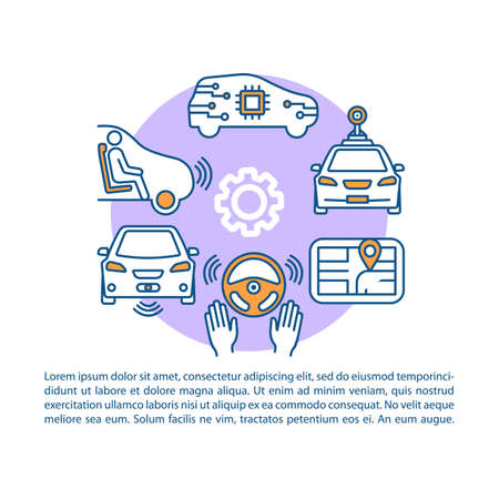 Self-driving car article page vector template. Driverless vehicle. Autonomous automobile. Brochure, magazine, booklet design element with linear icons and text. Print design. Concept illustrations Иллюстрация