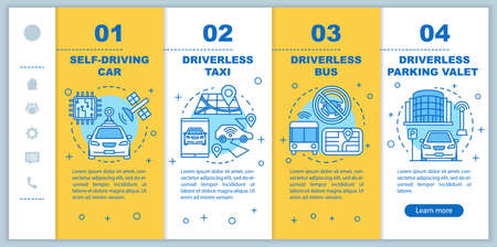 Driverless car industry onboarding mobile web pages vector template. Responsive smartphone website interface idea with linear illustrations. Webpage walkthrough step screens. Color concept Ilustracja